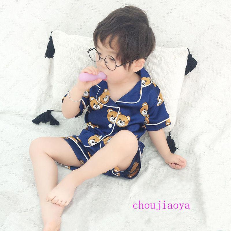 الأطفال الصيف البحرية الجديدة البيجامة اثنين من قطعة قصيرة الأكمام والسراويل واحدة الصدر الاطفال ملابس 2020 أنماط جديدة للحصول على الطفل