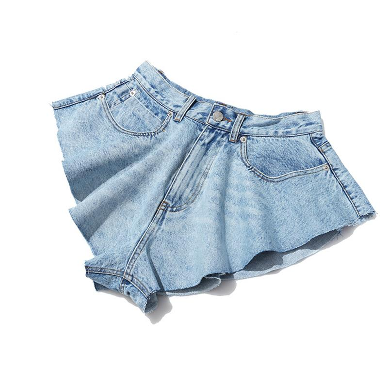 TWOTWINSTYLE Casual Denim Shorts Skirts High Waist Ruffle Hem Loose Ruched Short Pants Female Fashion Clothing 2020 Spring Tide CX200605