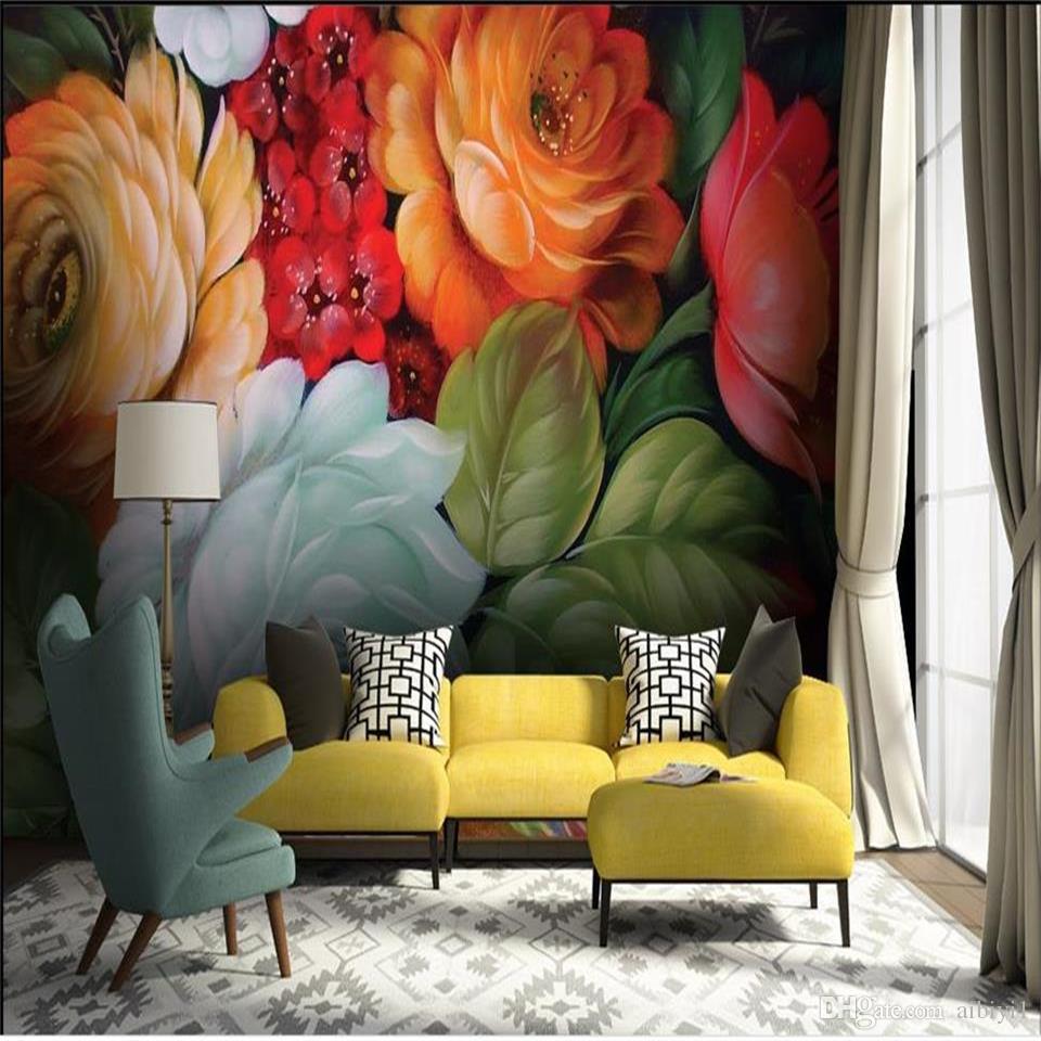 custom size 3d photo wallpaper living room 3d wall mural vintage nostalgic flower oil painting sofa TV backdrop wallpaper non-woven sticker