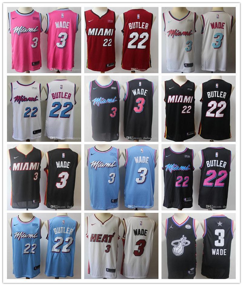 MiamiChaleurMEN CITYNBA Dwyane Wade 3 Jimmy 22 maillot de basket-ball Butler
