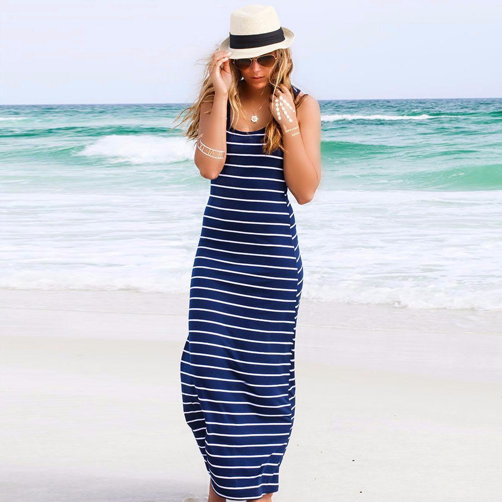 Vestido de playa Chaleco sin mangas a rayas Vestido sexy de moda Mujer largo 3 colores