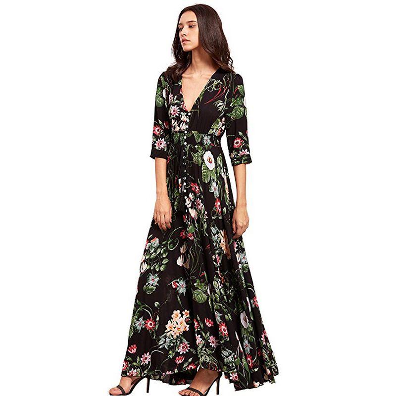 Marca longa Maxi Imprimir Plus Size Sexy Casual Verão roupas de praia Mulheres Vestidos de renderização elegante Boho Partido Robe Clube Vestido Q190506