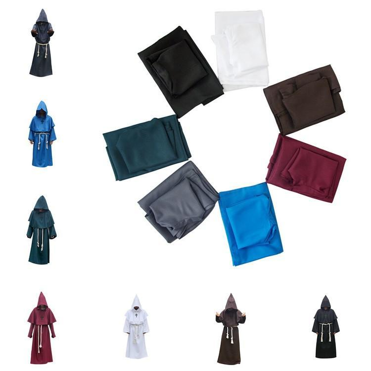 Medieval Monk Cowl Robe 7 Colors Halloween Hooded Cowled Fancy Cosplay Costume Robe Cloak Cape Party Favor T6I072