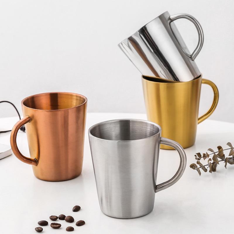 acero inoxidable taza de agua 320ml con la taza de mango doble cerveza pared con aislamiento de tazas de café anti-caída taza A05