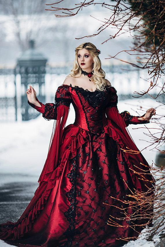 고딕 양식의 부르고뉴와 흑백 웨딩 드레스 긴 소매 레이스 아플리케 빅토리아 잠자는 아름다움 공주 중세 겨울 신부 가운