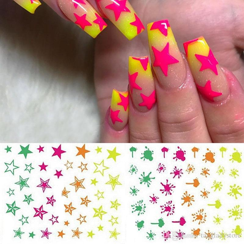 Puede mezclar el diseño del arte del clavo 3D pegatinas Decal estrellas de neón salpicadura de Blob Summer Flash uñas acrílicas Herramientas de la manicura