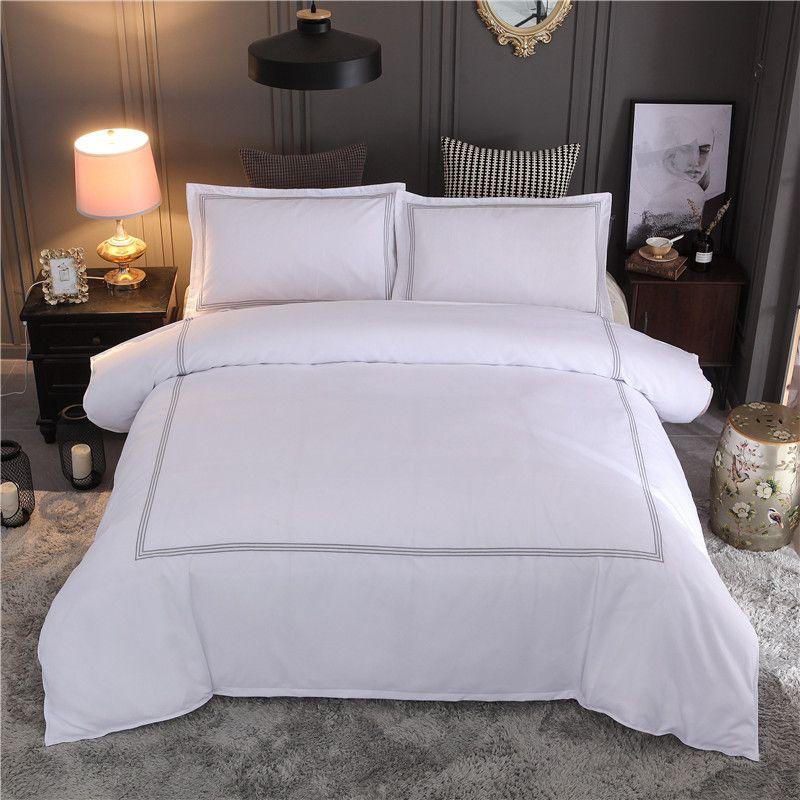 HM Liife Hôtel Literie Reine / King Size Blanc Brodé Couleur Housse de couette Sets Hôtel Linge de lit Taies Taie