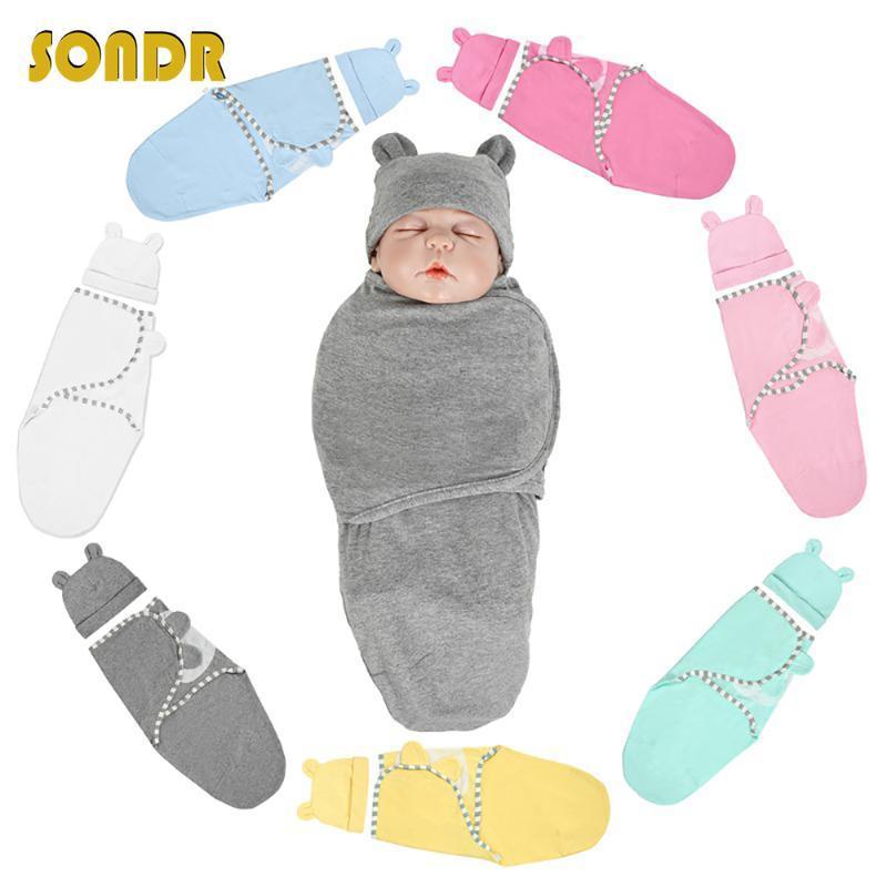 SONDR mousseline Swaddle nouveau-né Organique Coton Couverture extrait enveloppe Bébé Dormir choses literie pour BoysGirls avec un chapeau nouveau