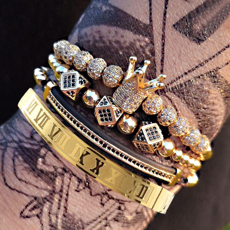 Bangle 2021 Klassisches handgemachtes Flechten Armband Gold Hip Hop Männer Pave CZ Zirkon Krone Römische Zahl Luxus Schmuck