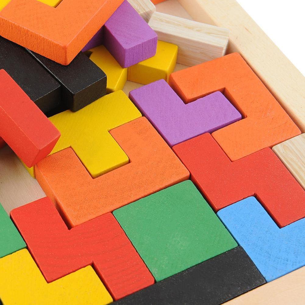 3D rompecabezas de madera del rompecabezas chino del enigma del juego de Tetris Juguetes juguetes preescolares desarrollo intelectual de los niños de madera Junta Jigsaw