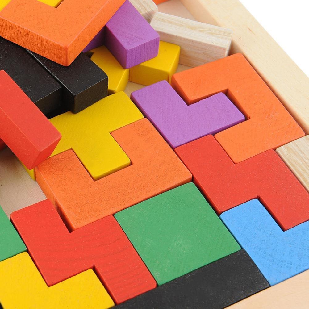 3D legno Tangram Rompicapo Puzzle Giocattoli gioco Tetris in età prescolare intellettuale Giocattoli di sviluppo per bambini in legno Jigsaw Consiglio