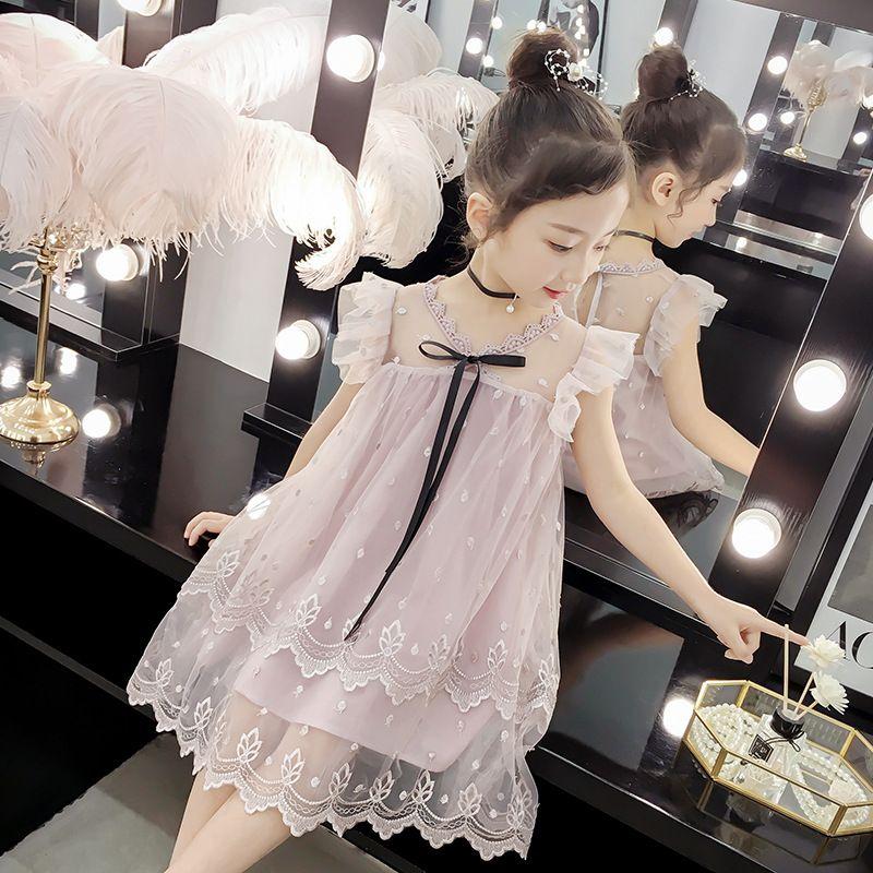 Girls Summer Dress 2020 New Children's Clothing Net Big Boy Korean Girl Black Ribbon Lace 4-12 Years Old Vestidos De Verano