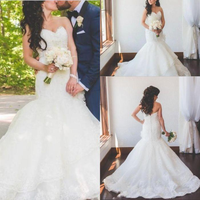 Vintage Lace Русалка Свадебные платья Свадебные платья 2019 Свадебные платья Милая декольте полный шнурок многоуровневого поезд страна сшитое плюс размер