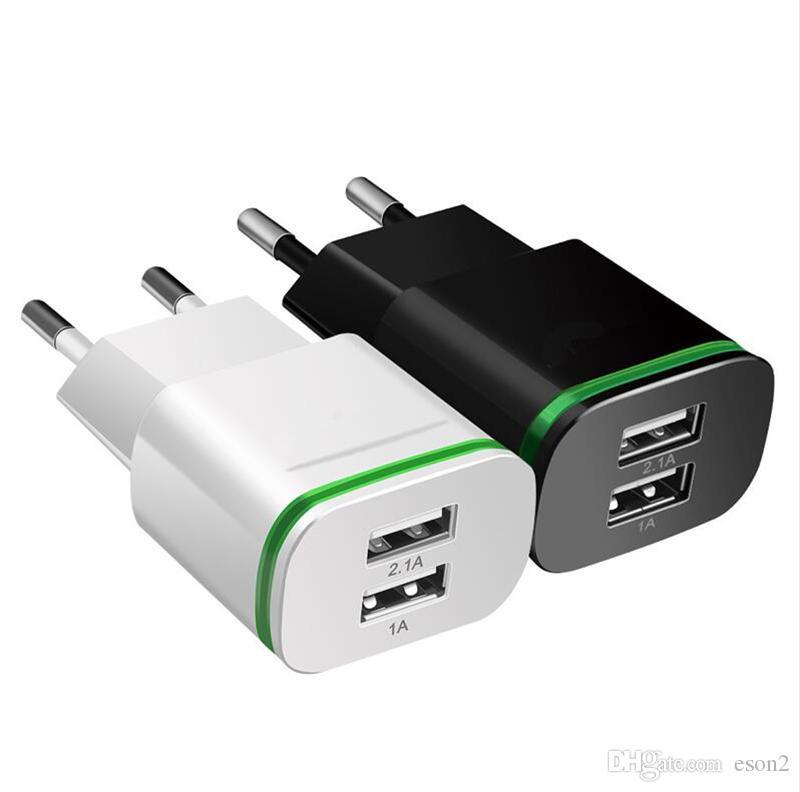 5V 2.1A parede carregador rápido UE US LED de luz dupla portas USB Mobile Phone parede Travel Power Adapter Carregador Para Samsung S7 S8 S9 HTC
