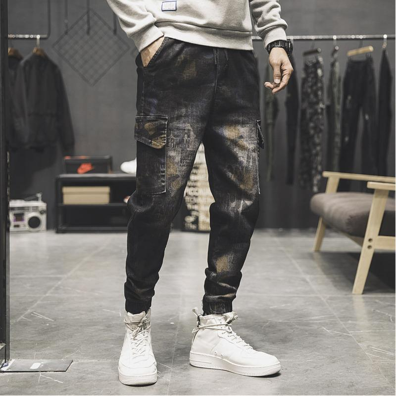 Winter New Elastic Slim Jeans Men Warm Padded Fashion Hip Hop Camo Denim Pants Man Casual Wild Tooling Wind Male Cowboy Clothes