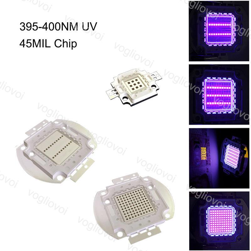 Grânulos claros UV 395-400NM Cob 45mil Chip 10W 20W 30W 50W 100W Acessórios de iluminação para prego Protetor de segurança Lâmpada de aviso EUB