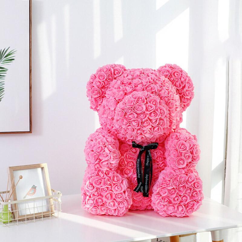 Romantische Rose Bär Künstliche Blumen Valentinstag-Geschenk-Fälschungs-Rose Teddybär Soap Blumen Geburtstagsgeschenk für Hochzeit