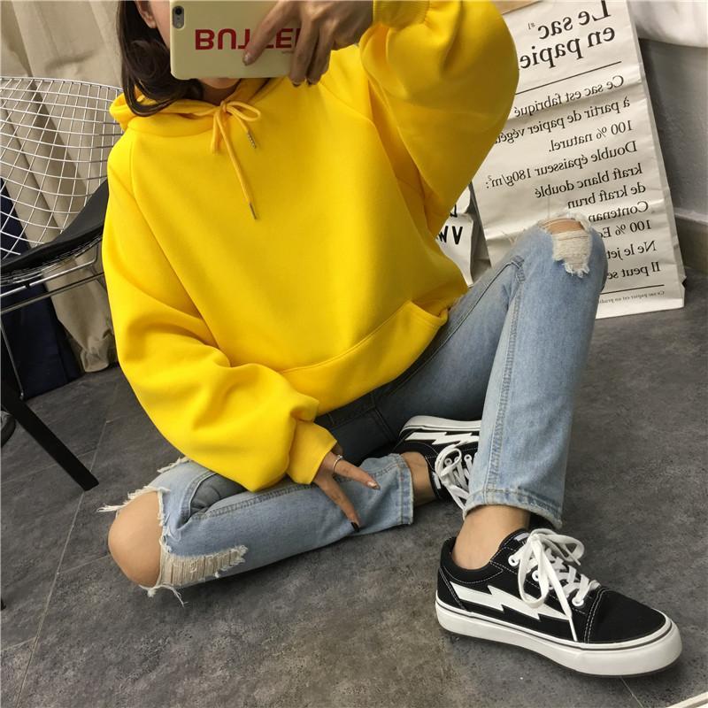 가을과 겨울 새로운 여성의 까마귀 스웨터 긴 소매 노란색 여성 느슨한 후드 여성 두꺼운 코트 hoodies-