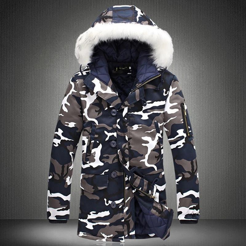Kış Ceket Erkekler 2019 Sıcak Satış Kamuflaj Ordu Kalın Sıcak Coat Erkekler Parka Coat Erkek Moda Kapşonlu Parkas Erkekler M-4XL Artı boyutu CJ191115
