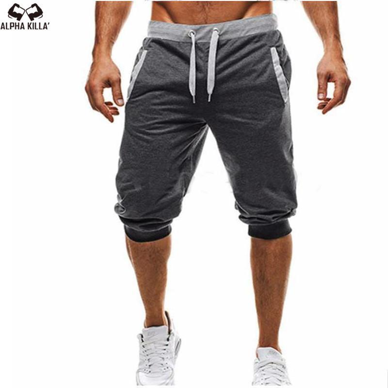 Yeni Marka Sıcak Moda Rahat Erkek Düz Pantolon Spor Kısa Sweatpants Harem Pantolon Jogging Yapan Sportwear Y19050501 Slacks