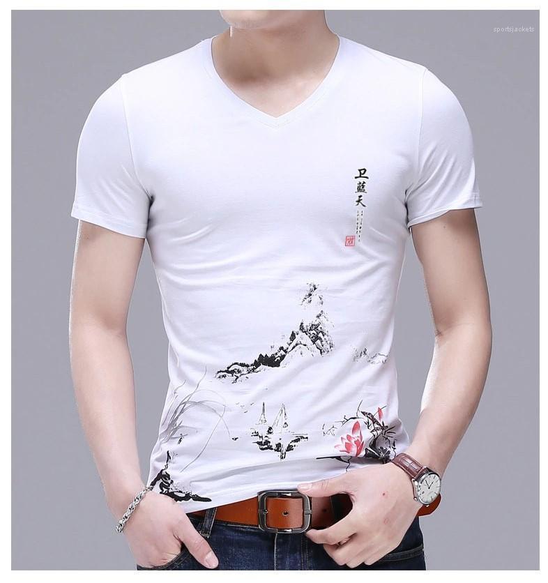 Manga curta Pescoço V Vestuário Mens Fashion Casual Tops dos homens do desenhista camiseta estampa floral Tees