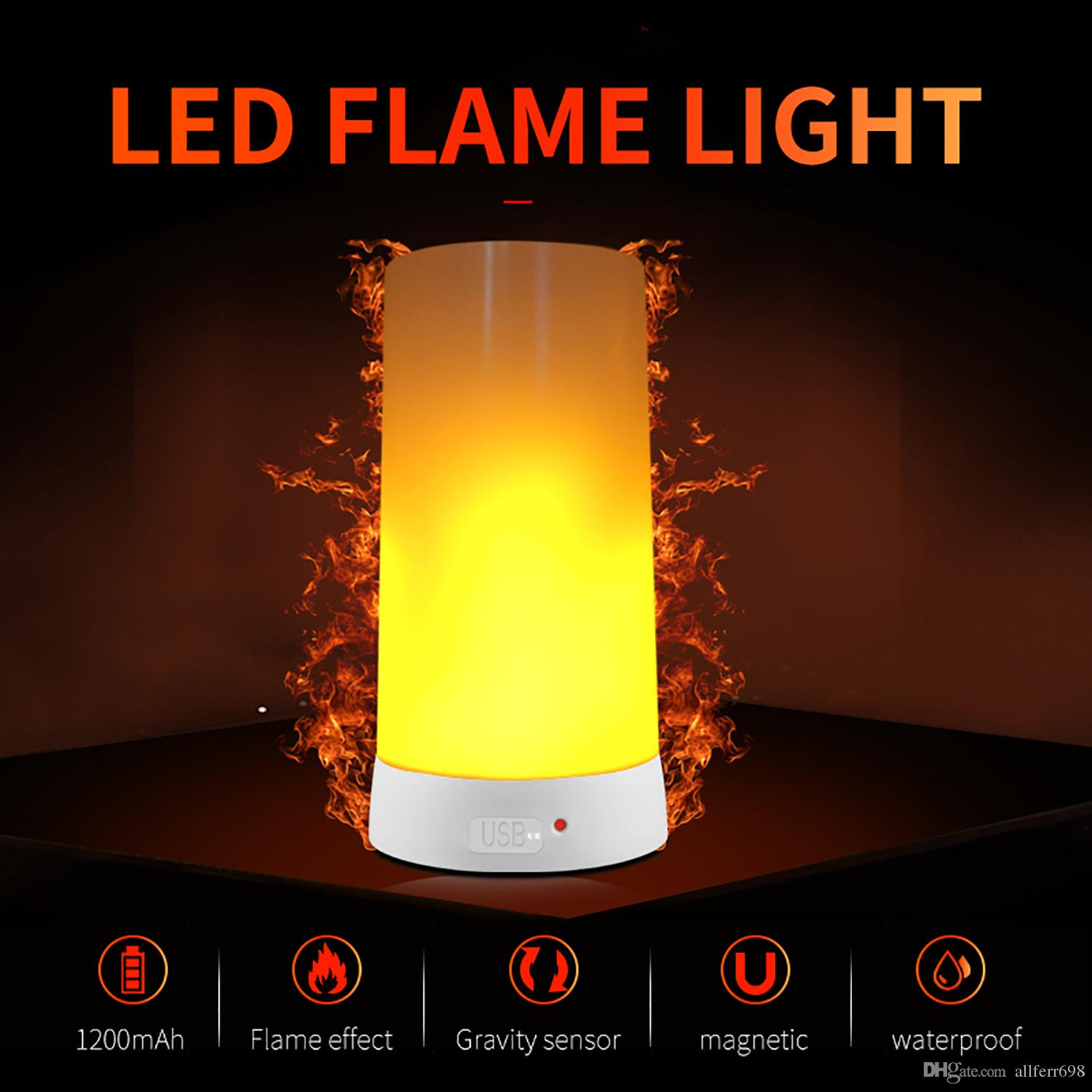 Flame LED effect fire light waterproof indoor and outdoor flash mode simulation 3 magnetic flame LED USB charging light