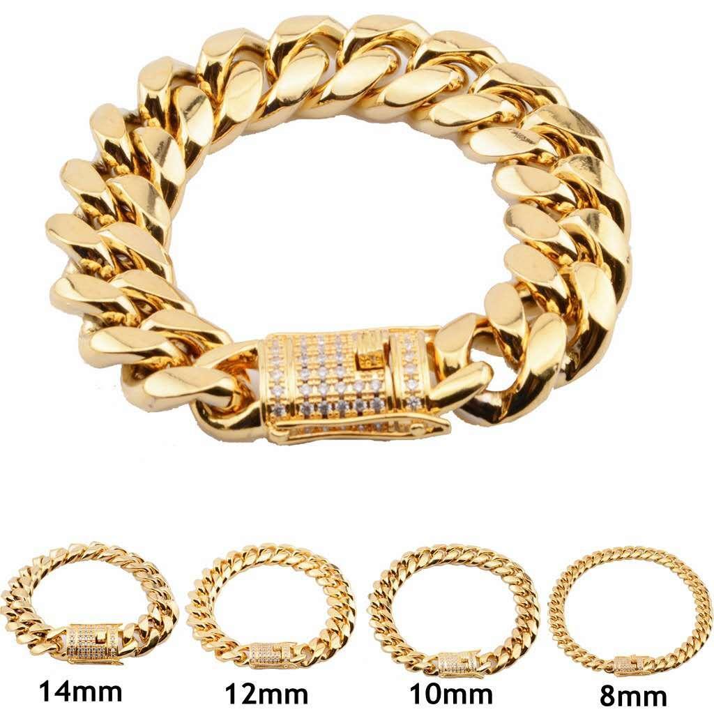 8mm / 10mm / 12mm / 14mm / 16mm / 18mm Mens 14K Placcato oro in acciaio inox Bracciali in acciaio inox Alto lucido Miami cubano Link Punk Curb Bracciali in oro