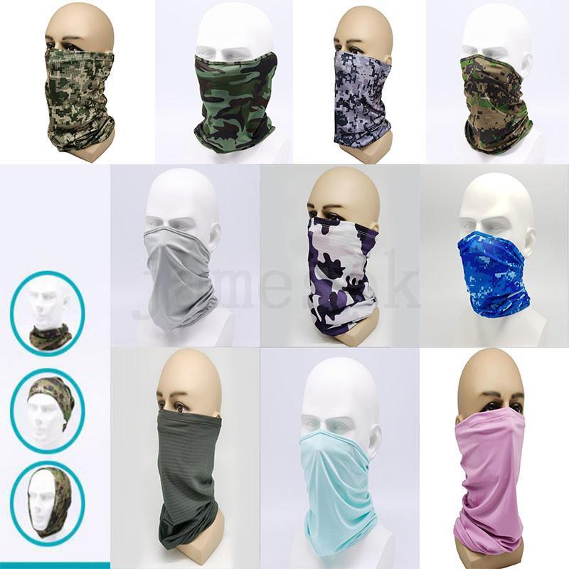 Eis Seide Camouflage Schal Atmungsaktiv cooles Kopfschmuck Motorrad Stirnband Handband Magie Stirnband Outdoor Reiten Kopfband DA398