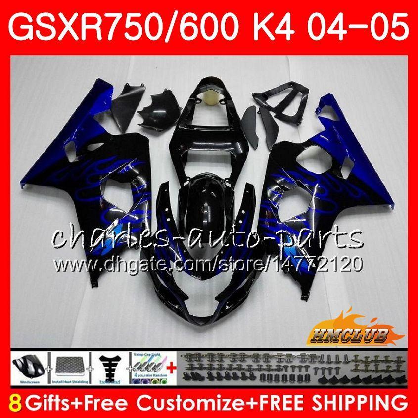 Suzuki GSXR 750 GSX R750 GSX-R600 GSXR600 04 05 7HC.13 GSXR-750 Blue Flames Hot GSXR 600 04 05 K4 GSXR750 2004 2005 페어링 키트