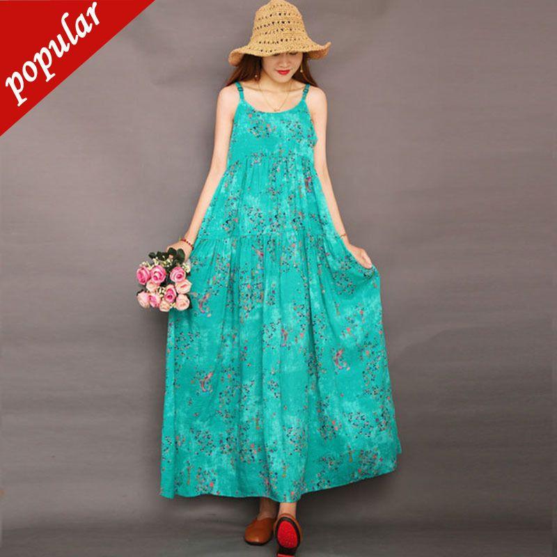 2019 Summer Women Bohemian Maxi Dresses Cotton Linen Spaghetti Strap Floral Printed Loose Plus Size Dress