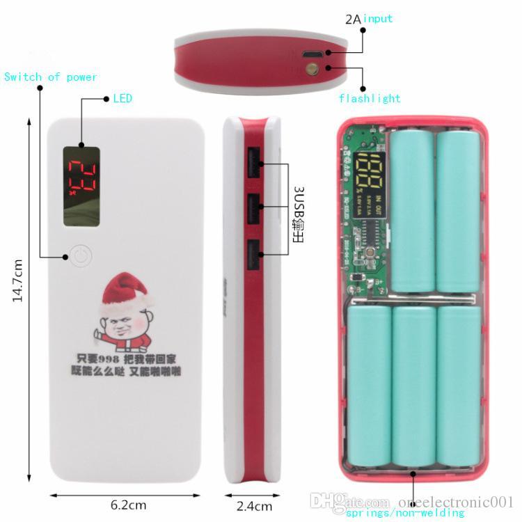 Новый 2019 2USB 5x 18650 DIY портативный аккумулятор мультфильм hotsale Power Bank Case Box дело ЖК-дисплей 2x фонарик без батареи нет-сварка f