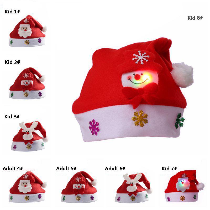 Brilhar chapéu de Santa chapéu de Natal dos desenhos animados Adulto Kid Plush Natal Hat Cap Antlers boneco de neve Luz Xmas Chapéus Xmas presente DBC VT1062
