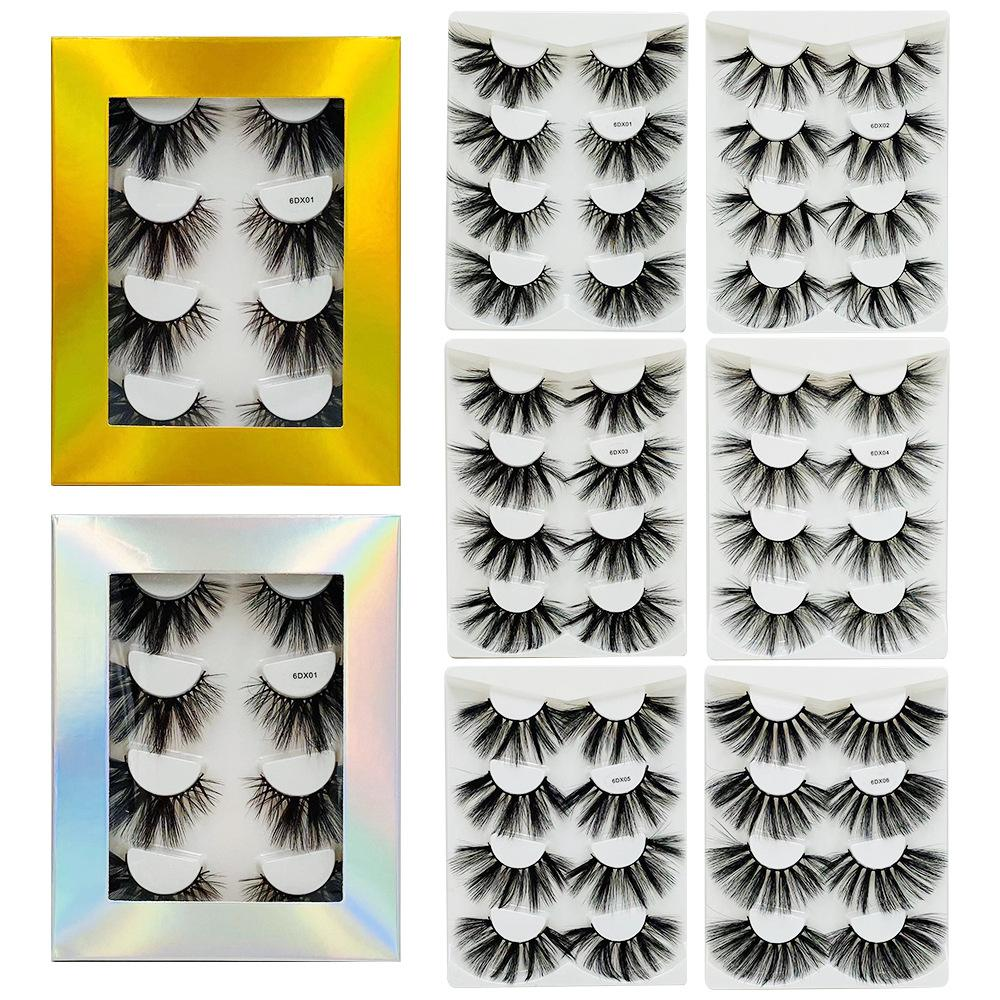 4 pairs of laser boxes with 6D 25mm mink eyelash extensions and thick lashes 10 styles free shipping