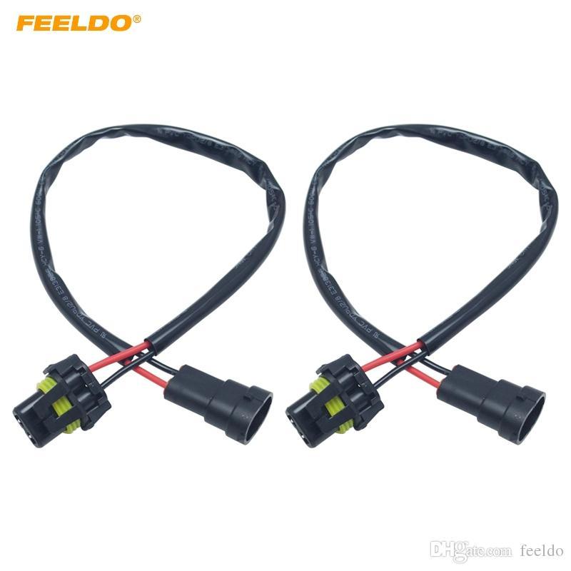 FEELDO 2PCS Car 12V 35W 55W Auto 9005/9006 Male to Femal HID Conversion Kit Xenon Lamp Bulb Power Wire Harness Plug Power Cable #5977