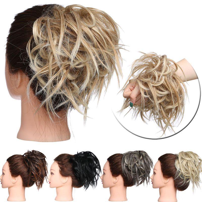 New desarrumado Scrunchie cabelo chignon bun Hetero elástico updo peruca de cabelo sintético extensão do cabelo chignon para as mulheres