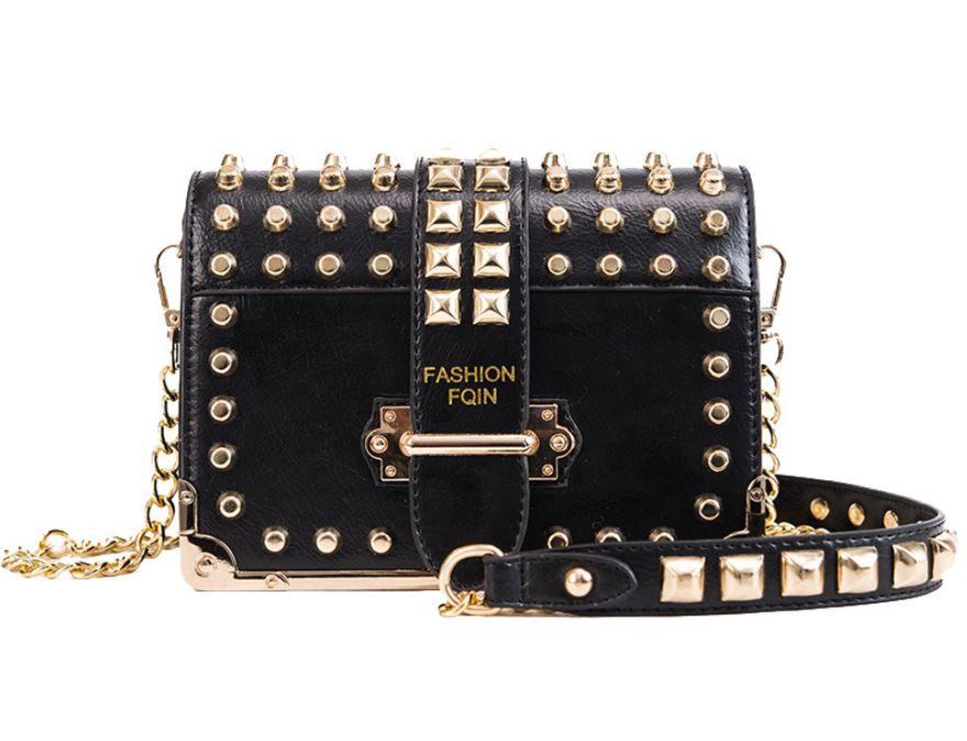 2019 hot IN women Rivet chain shoulder bags fashion lady crossbody bags phone shopping pouch hip hop teenager girls sling
