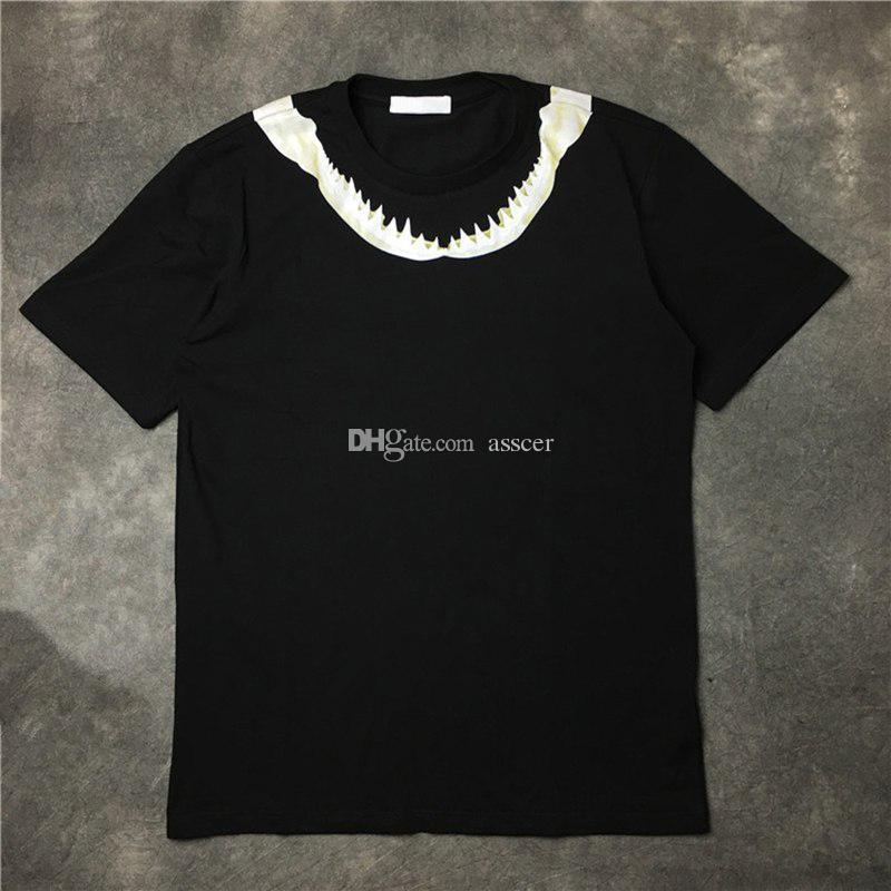 Mens t-shirt das mulheres dos homens de alta qualidade camiseta de algodão Moda de Nova Mens dente de tubarão impressão Camiseta