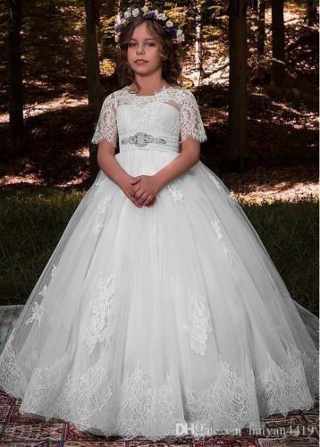 مغرفة حورية البحر غمد الرباط جميل يزين الطابق طول زهرة فتاة فستان فساتين الزفاف تظهر اللباس الرسمي
