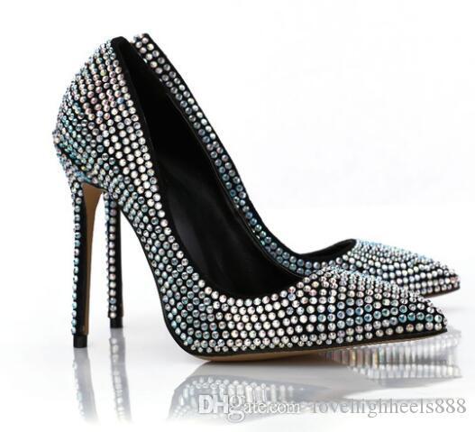 Studded Cristal Stiletto Heels Mulheres Bombas Sexy Apontou Toe Mulheres Partido Sapatos Slip-On Sapatos De Salto Alto Nupcial Sapatos de Casamento