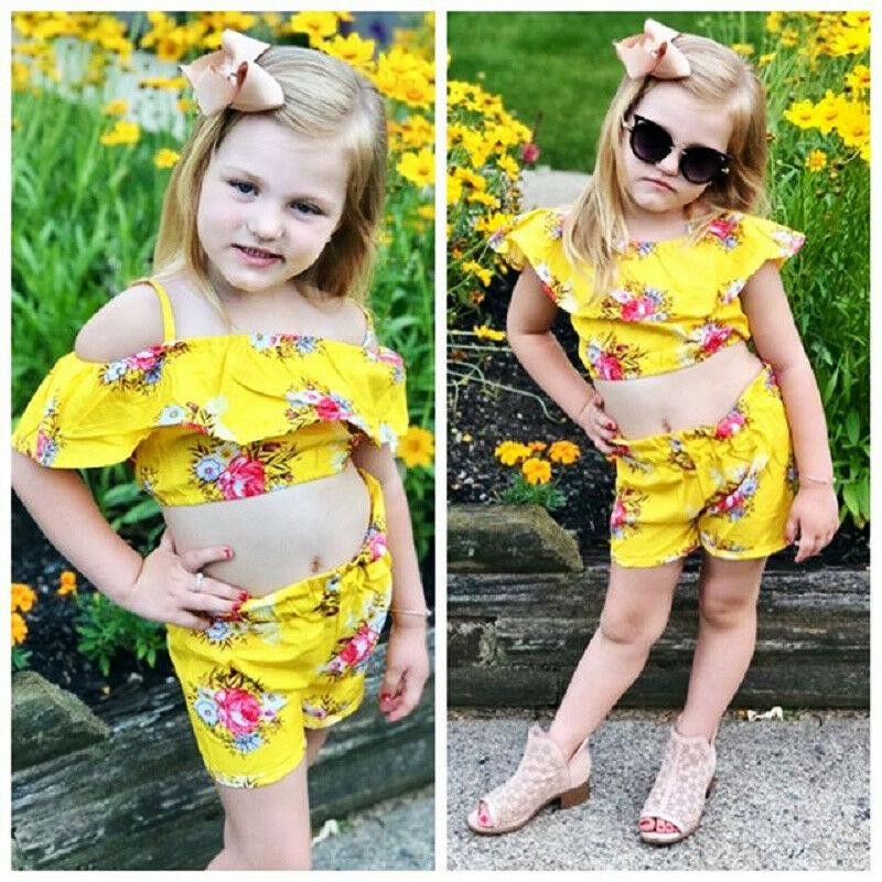 Toddler Kids Baby Girls Royal Floral Strap Tops Shorts Outfits Set Clothes