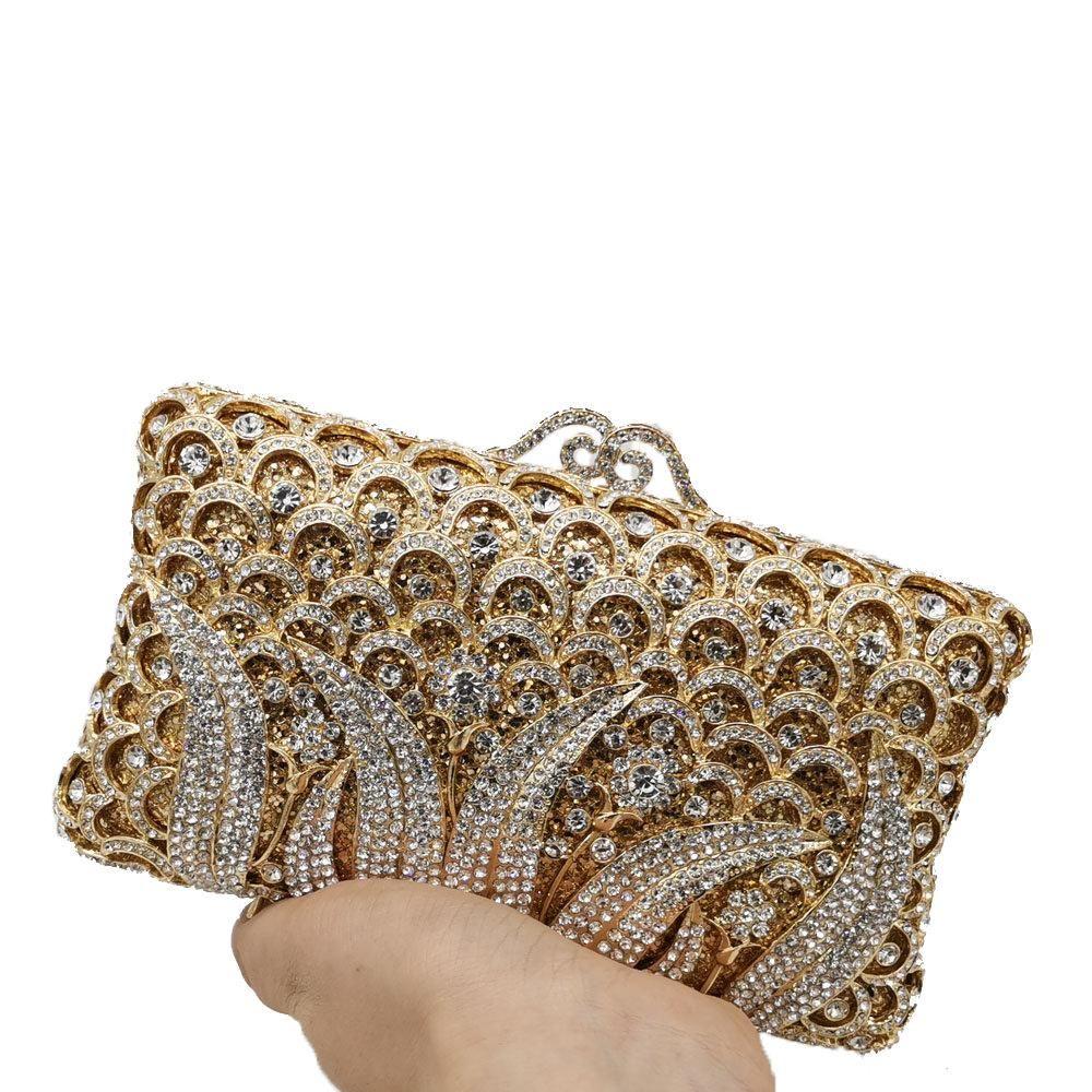 Designer- De FGG Elegant Women Flower Clutch Crystal Evening Bags Diamond Metal Minaudiere Handbags Wedding Party Dinner Purses