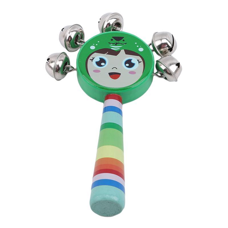 Madeira Maraca Sino bebê Toy Crianças de madeira infantil dos desenhos animados Smiley Rattle primeira infância Ensinando sobre a AIDS chocalhos brinquedos do bebê