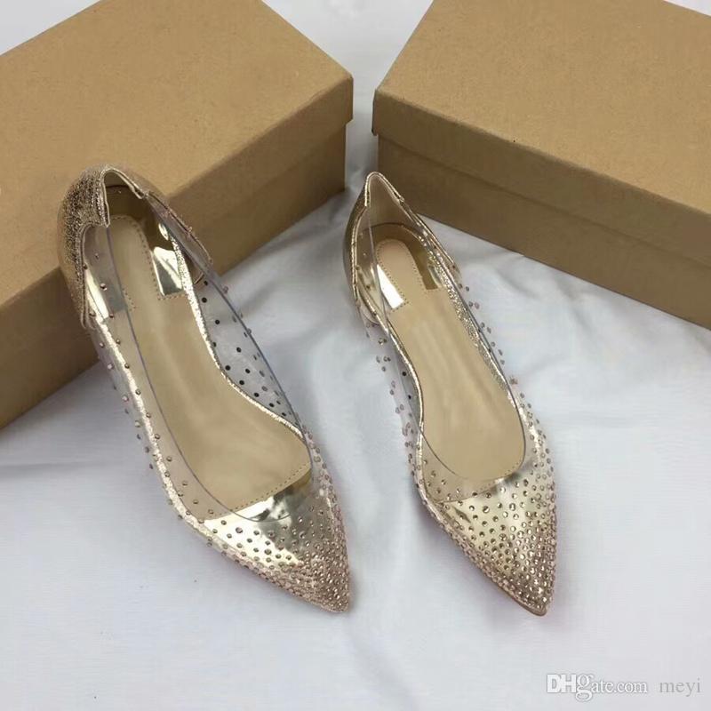 Großhandel Luxus Strass Klar PVC Kristall Bedeckt Falt Heels Stiletto Heels Promis Stile Spitze Zehe Kleid Party Schuhe Für Die Frau Von Meyi, $59.3