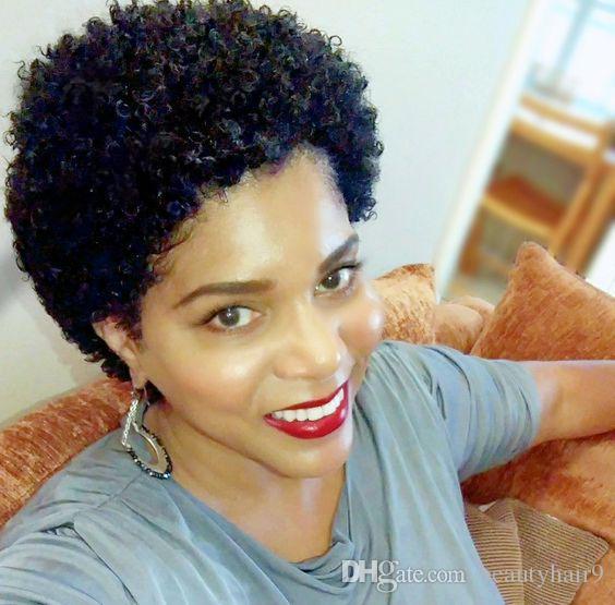 Toptan yeni saç kısa kesim kinky kıvırcık peruk brezilyalı Saç Simülasyon İnsan Saç yumuşak kısa kinky kıvırcık küçük dantel ön peruk