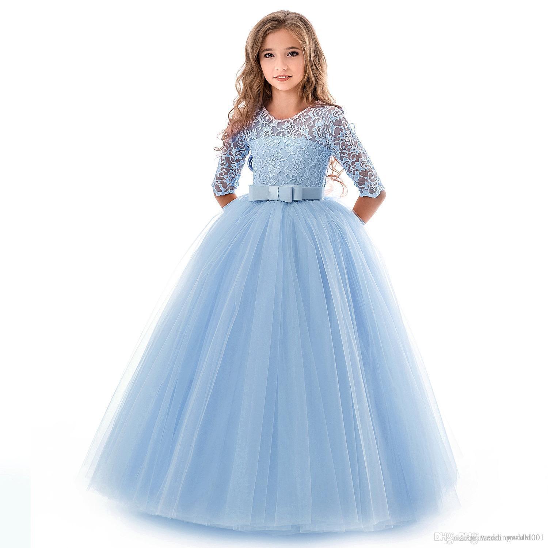 Cheap Pink Flower Girls Dresses for Wedding Lace Applique Ruffles Kids Formal Wear Long Beach Ball Little Girl Pageant Gowns 2019
