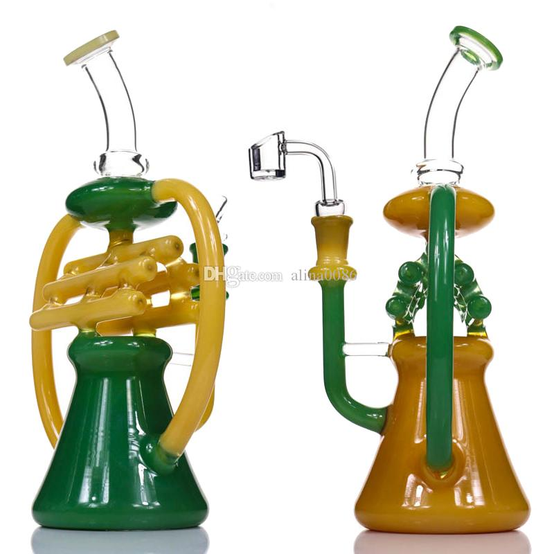 """New NOTE Recycler Bong Dab Rigs Glass Water Pipe Tall 10.5"""" Percolator Heady Glass Beaker Bongs Color Recycler Oil Rig Bubbler Bong"""