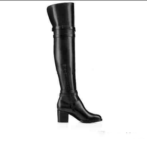 مصمم أزياء السيدات الشتاء جودة عالية جلدية سوداء حقيقية على مدى الركبة أحذية الأحمر أسفل Karialta المرأة الفخذ أحذية عالية بالجملة