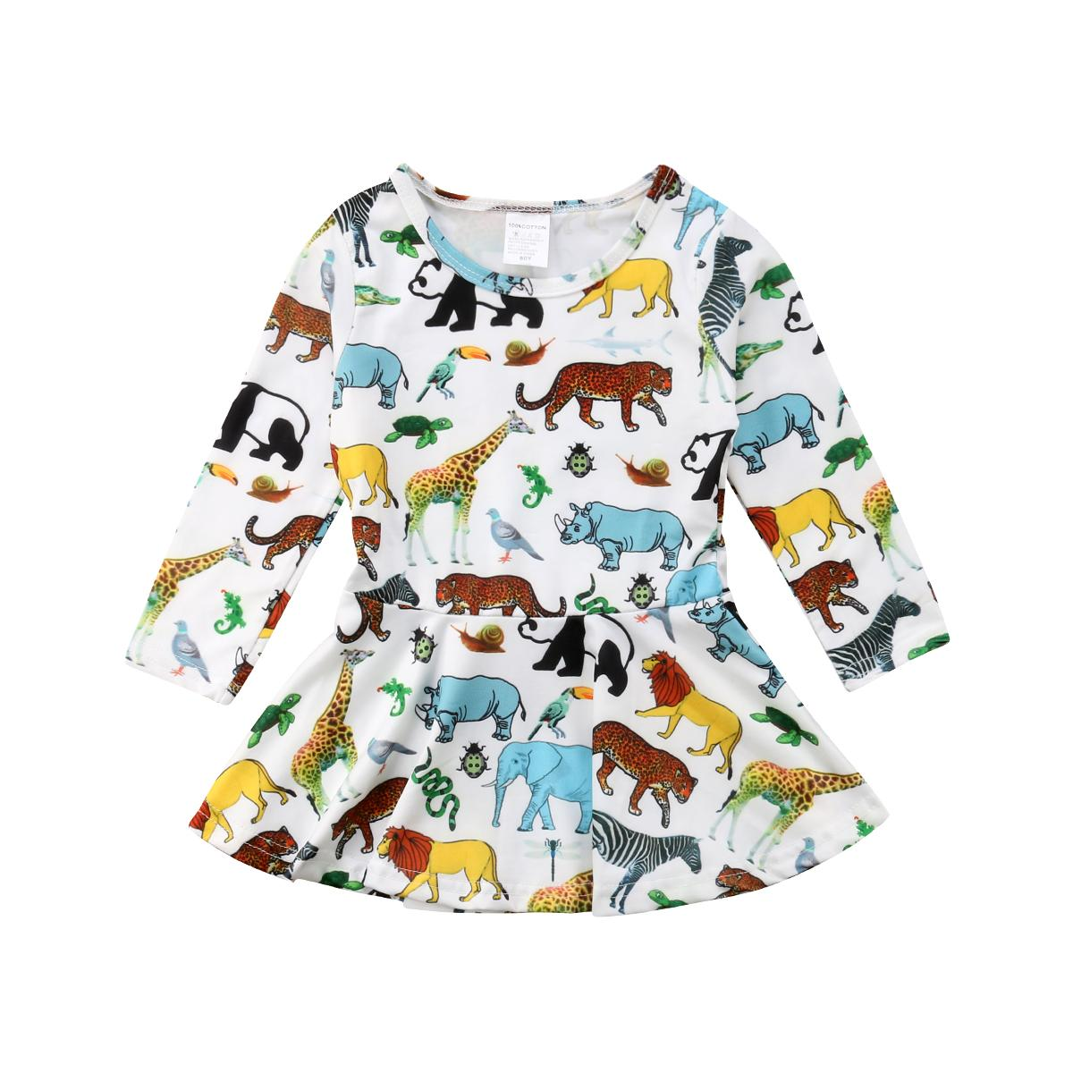 Newborn Infant Toddler Kid Baby Girl Clothes Animal Long Sleeve Casual Silk Popular Girl Dress Party Tutu Dresses Clothes Casual