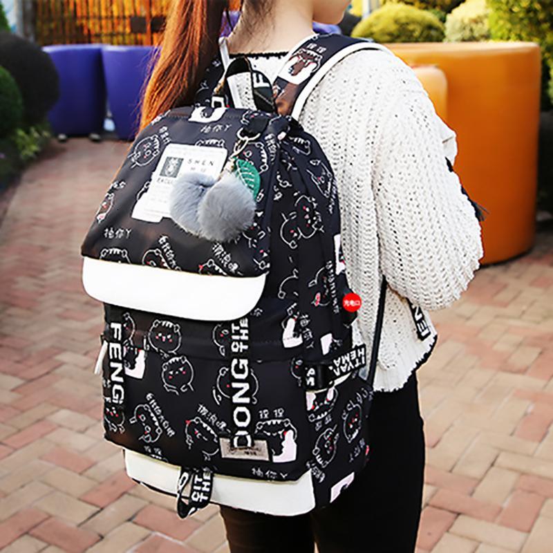 Moda Yüksek Kapasiteli Seyahat Kadın Sırt Çantası Ponpon Kolye Dizüstü Kadın Omuz Çantası Genç Kız Sırt Çantaları Kadın Bagpack 2019 T190915