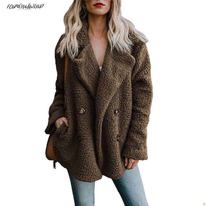 Giacca invernale 2019 Moda nuovi maglioni doppiopetto Giacca in pelliccia allentata bavero Capispalla donna Cappotto da donna Giacca autunno da donna